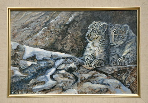 Original painting Acrylic on Board - two Snow Leopard cubs by Ann Kilminster.