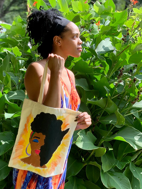 "Hand-painted""Rooted"" Tote bag"