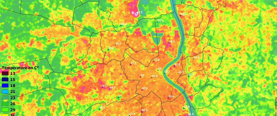 Carte de température de surface du sol - Bordeaux Métropole