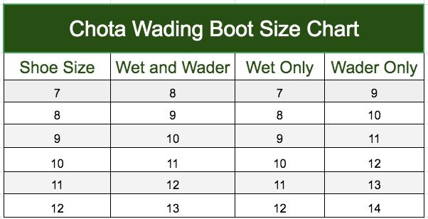 Chotta wading boot size chart