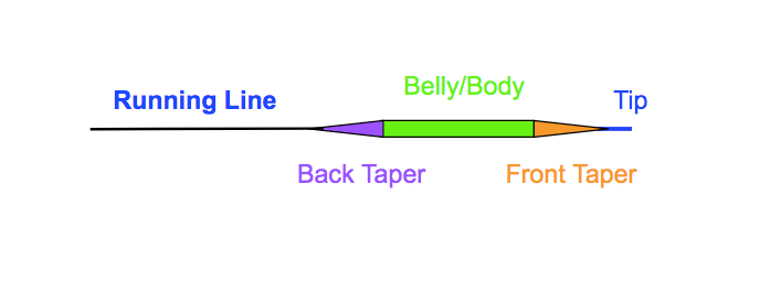 tapered fly line sections