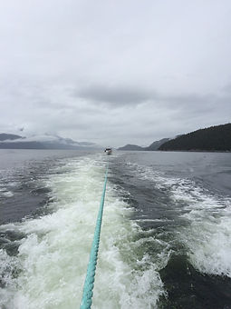 vessel towing in Douglas Channel Kitimat, stern tow