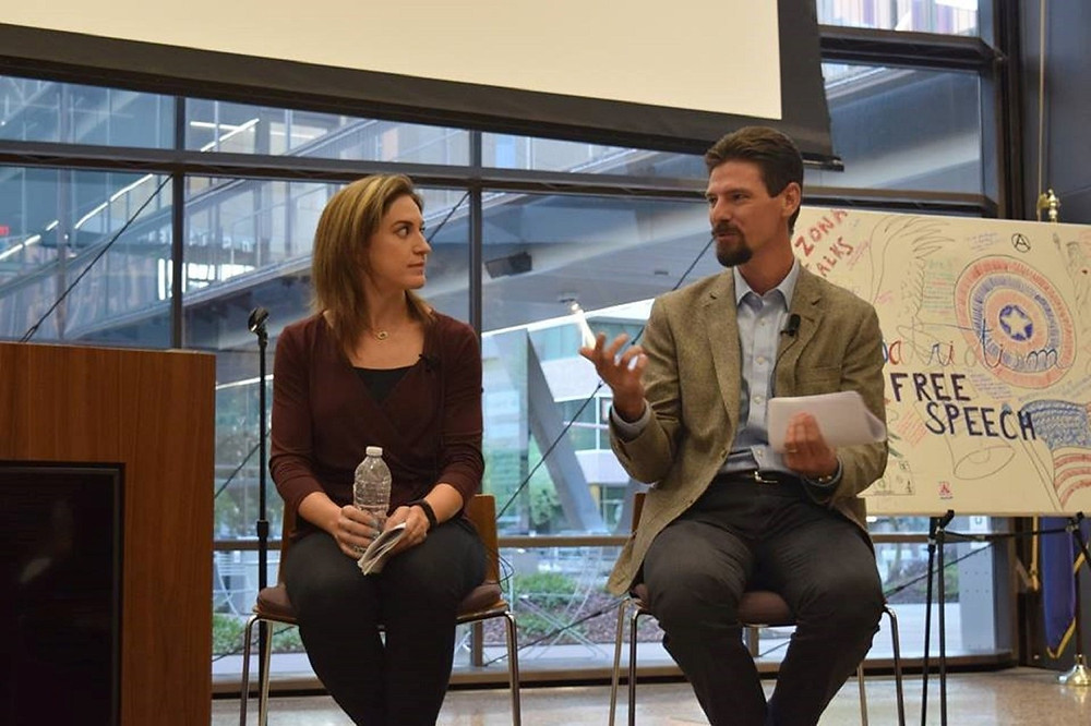 Goldwater Institute experts Christina Sandefur and Jim Manley discuss the state of free speech on college campuses at Tuesday's Arizona Talks panel event. (Source: Arizona Talks Facebook page.)