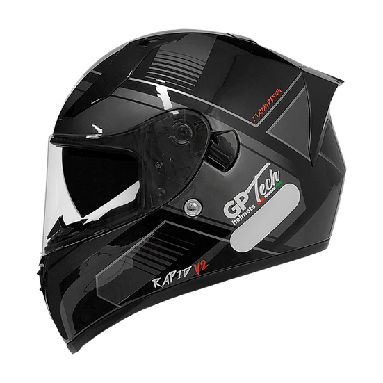 Capacete GP Tech V128 - Rapid V2 Brilhante | Preto