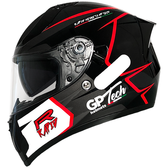 Capacete GP Tech V128 Rapid Brilhante | Preto com Cinza