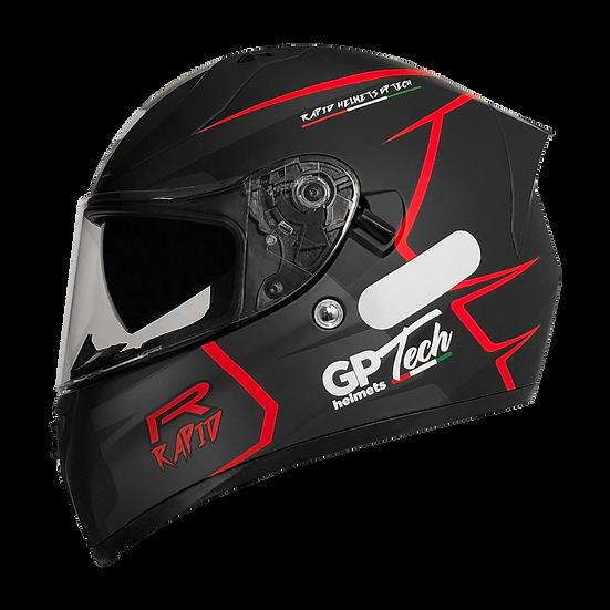 Capacete GP Tech V128 Rapid | Preto com Cinza Escuro