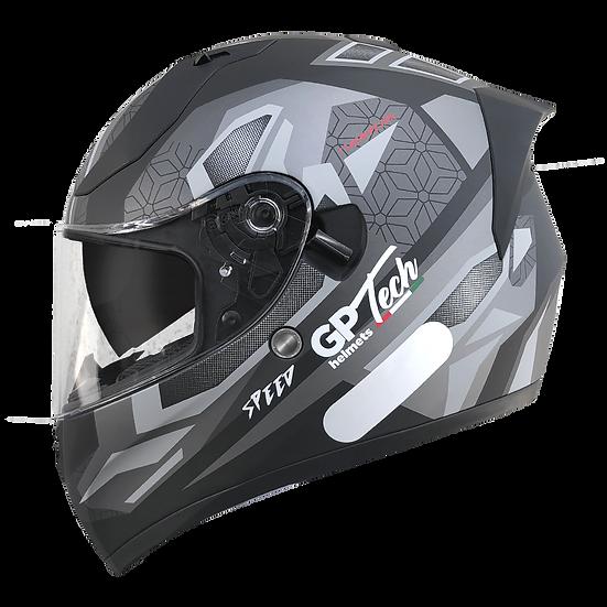 Capacete GP Tech V128 Speed | Fosco | Preto e Cinza