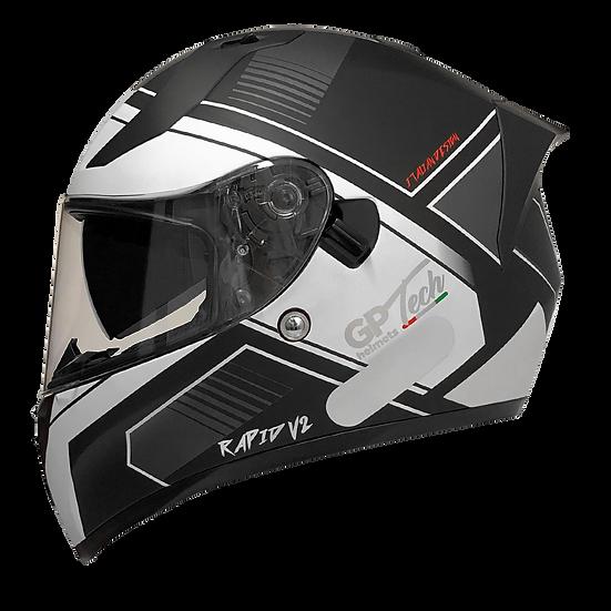 Capacete GP Tech V128 - Rapid V2 Fosco | Preto e Branco