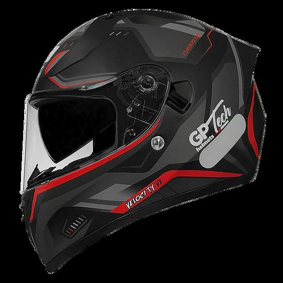 Capacete GP Tech V128 - Velocity V2 Fosco   Preto-Vermelho