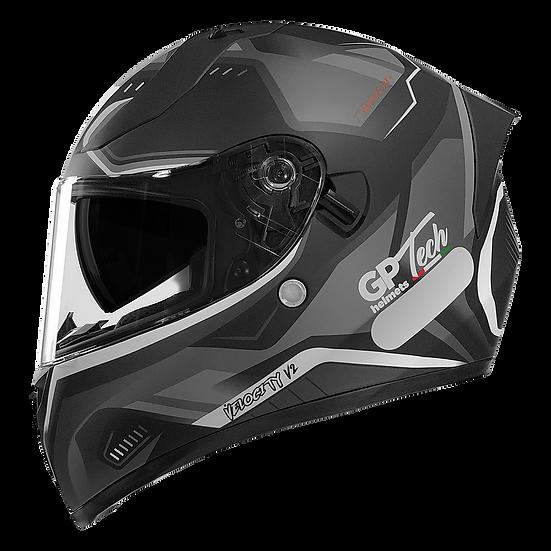 Capacete GP Tech V128 - Velocity V2 Fosco | Preto-Branco