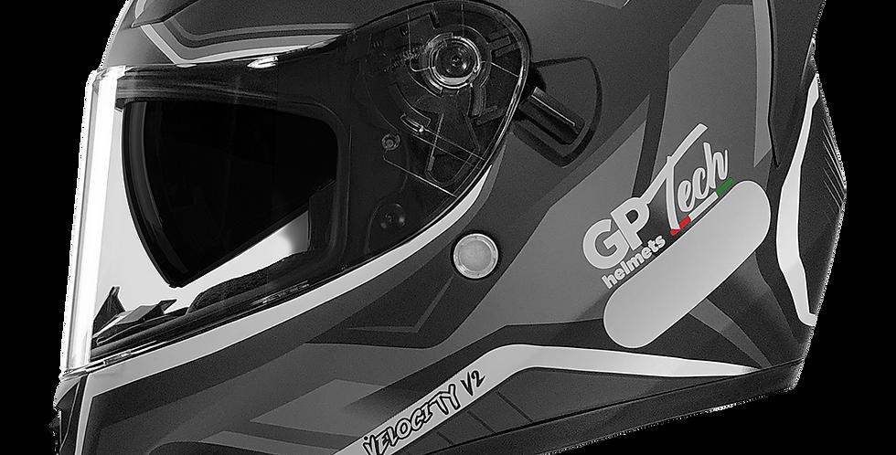 Capacete GP Tech V128 - Velocity V2 Fosco   Preto-Branco