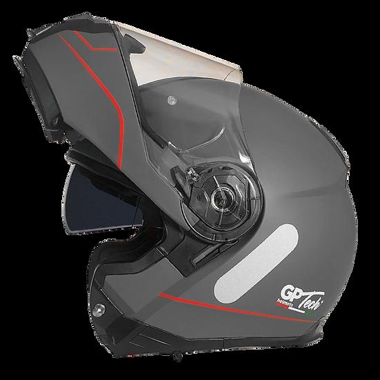 Capacete GP Tech A118 ROAD | Cinza e vermelho