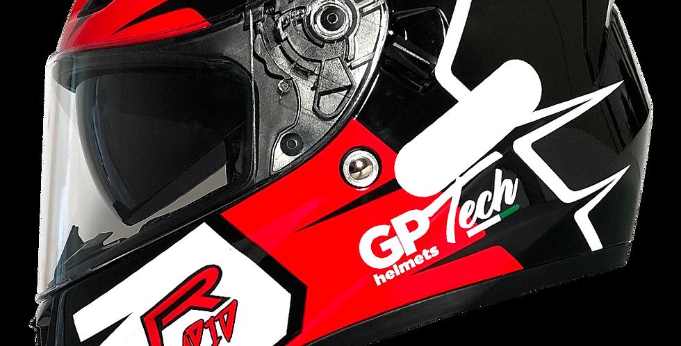 Capacete GP Tech V128 Rapid Brilhante   Preto com Vermelho