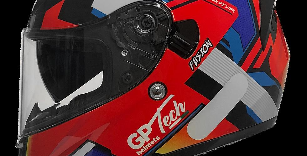 Capacete GP Tech V128 Fusion | Brilhante | Vermelho, Azul e Branco
