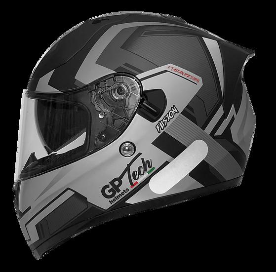 Capacete GP Tech V128 Fusion Fosco | Preto, Branco e Cinza