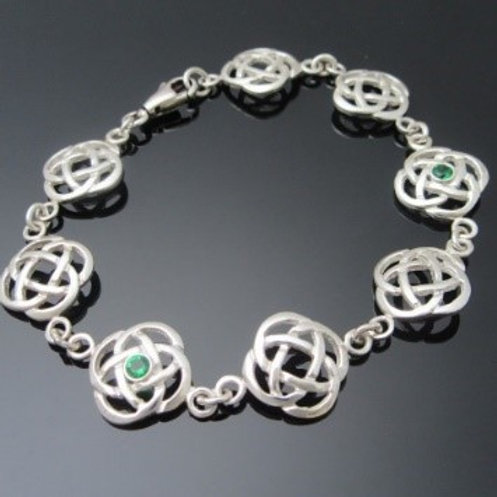 Sterling Silver Celtic Knot Bracelet with Emeralds