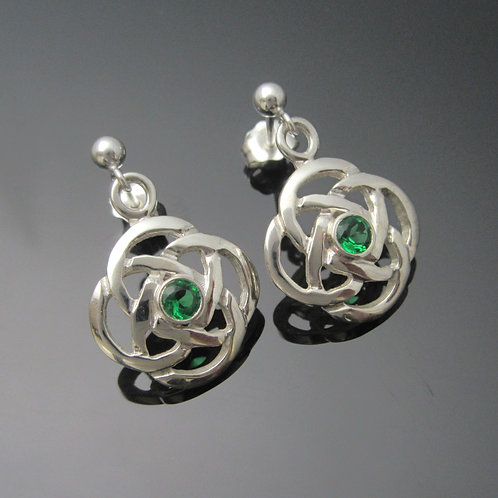 Celtic Knot Earrings with Emeralds