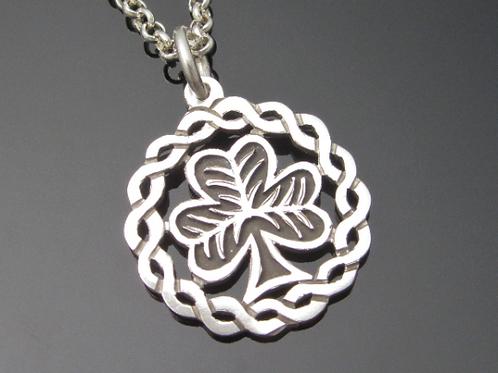 Shamrock Pendant with Celtic Knot Surround