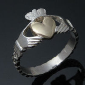 Sterling Silver Claddagh Ring with Solid Gold Heart
