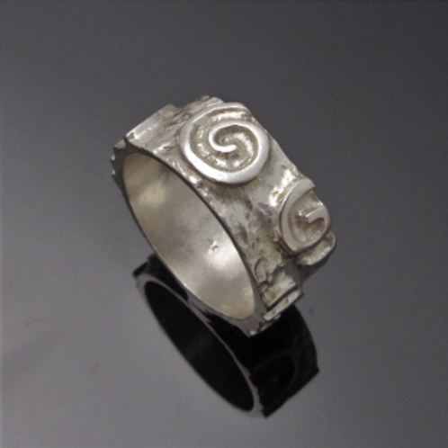 Handmade Raised Spiral Newgrange Ring - Thin