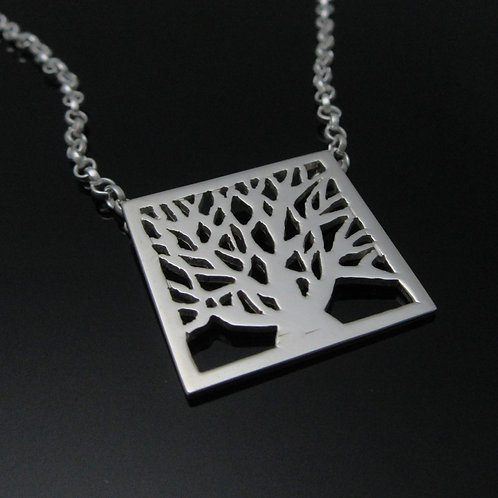 Tree of Life Pendant - Square Sterling Silver