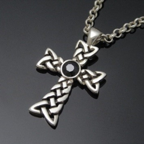 Celtic Knot Cross Pendant with Sapphire