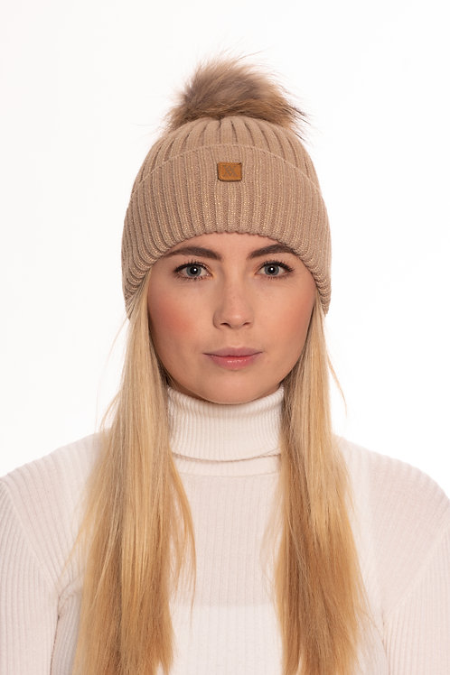 Gold Sparkly Bobble Hat