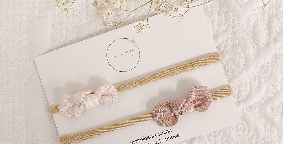 Mabel Bear - Ava Mini Bow Double Pack - Vintage Blush/Shell