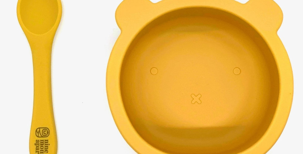 Bear Silicone Suction Bowl and Spoon Set - Mustard