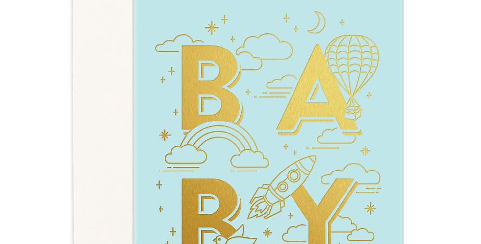 Fox & Fallow - Baby Universe Aqua Greeting Card