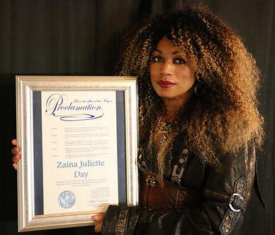 Zaina Juliette Proclamation from Mayor Goodman