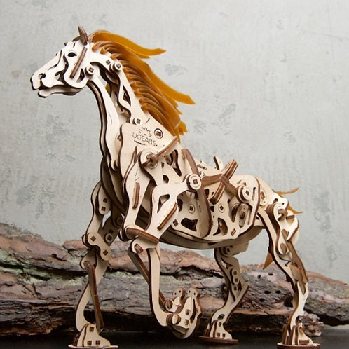 3-D Wooden Puzzle - Mechanical Horse Mechanoid