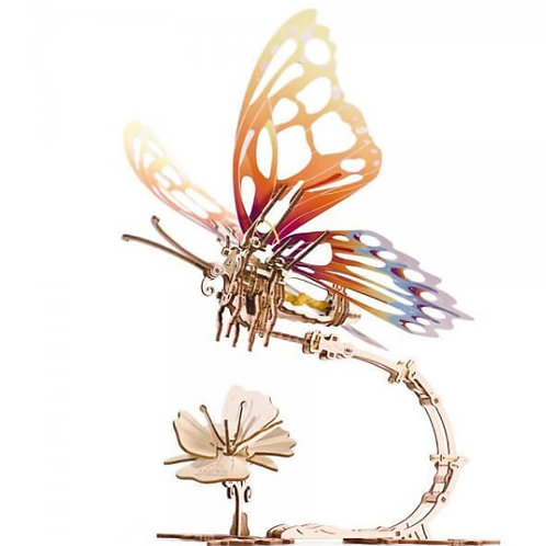3D Wooden Puzzle - Butterfly with mechanical wings movement