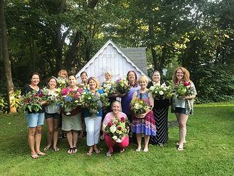 friends gathered at floral design workshop