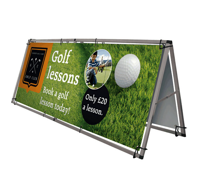 PVC Banner on outdoor frame