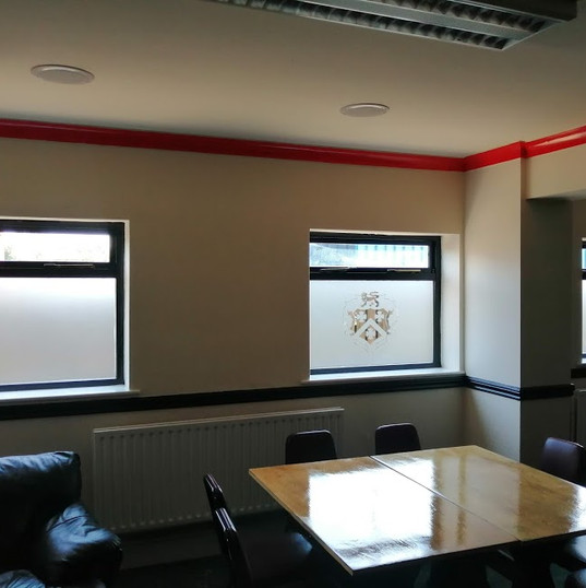 Privacy film with logo