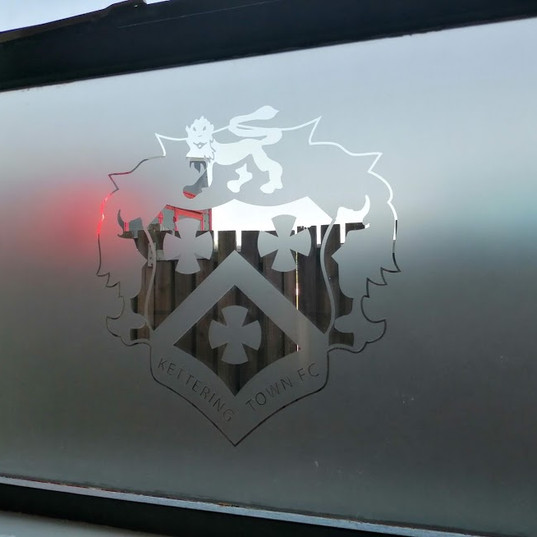 Frosted window logos