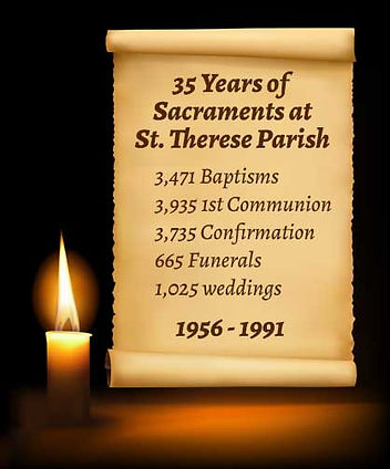 Candle and scroll with totals of 35 years of Sacraments at St. Therese Parish in San Diego. 1956-1991