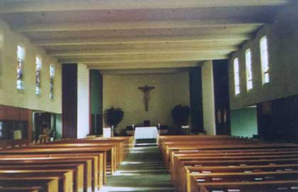 1970 St. Therese Church interior. Post-Vatican II. Altar railings removed. Wood for better acoustics