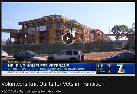 "NBC 7 video still from ""Volunteers Knit Quilts for Vets in Transition"""