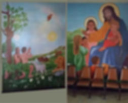 Murals in the Children's Chapel in St. Therese Catholic church in San Diego