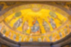 Golden dome with paintings of Jesus & Apostles Basilica of Saint Paul in Rome