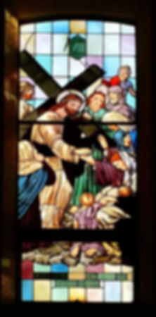 Stained glass window. 8th station of the Cross. St. Therese Catholic Church, San Diego, CA