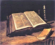 Van Gogh painting of a Bible on a table with candlestick and prayer book.