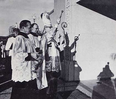St. Therese in San Diego. Jan 11, 1959 Catholic Bishop Charles Buddy dedicates the church.