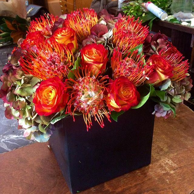Dutch hydrangea, pin cushion proteas and