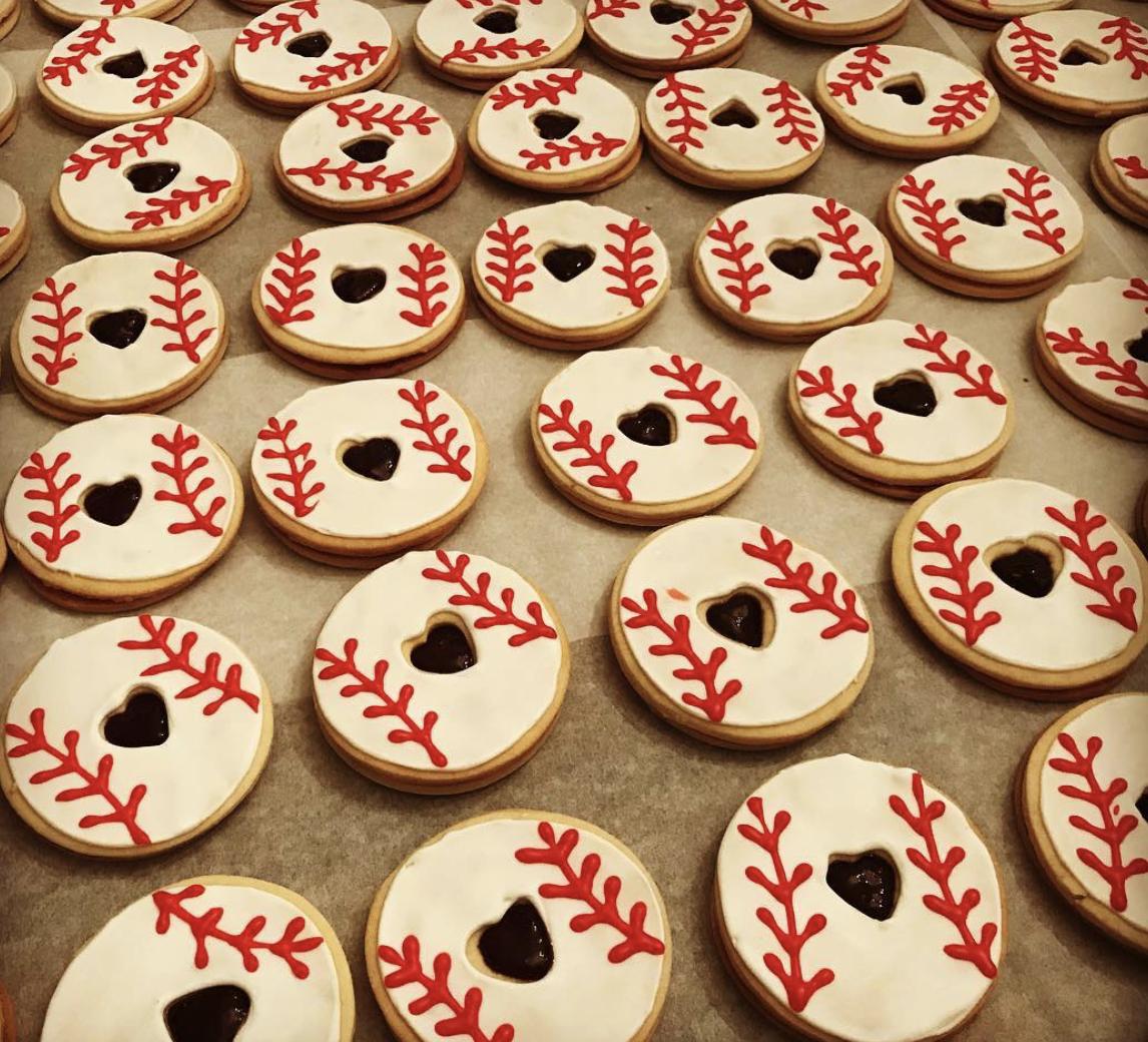 Baseball Lintzer Tart Cookies