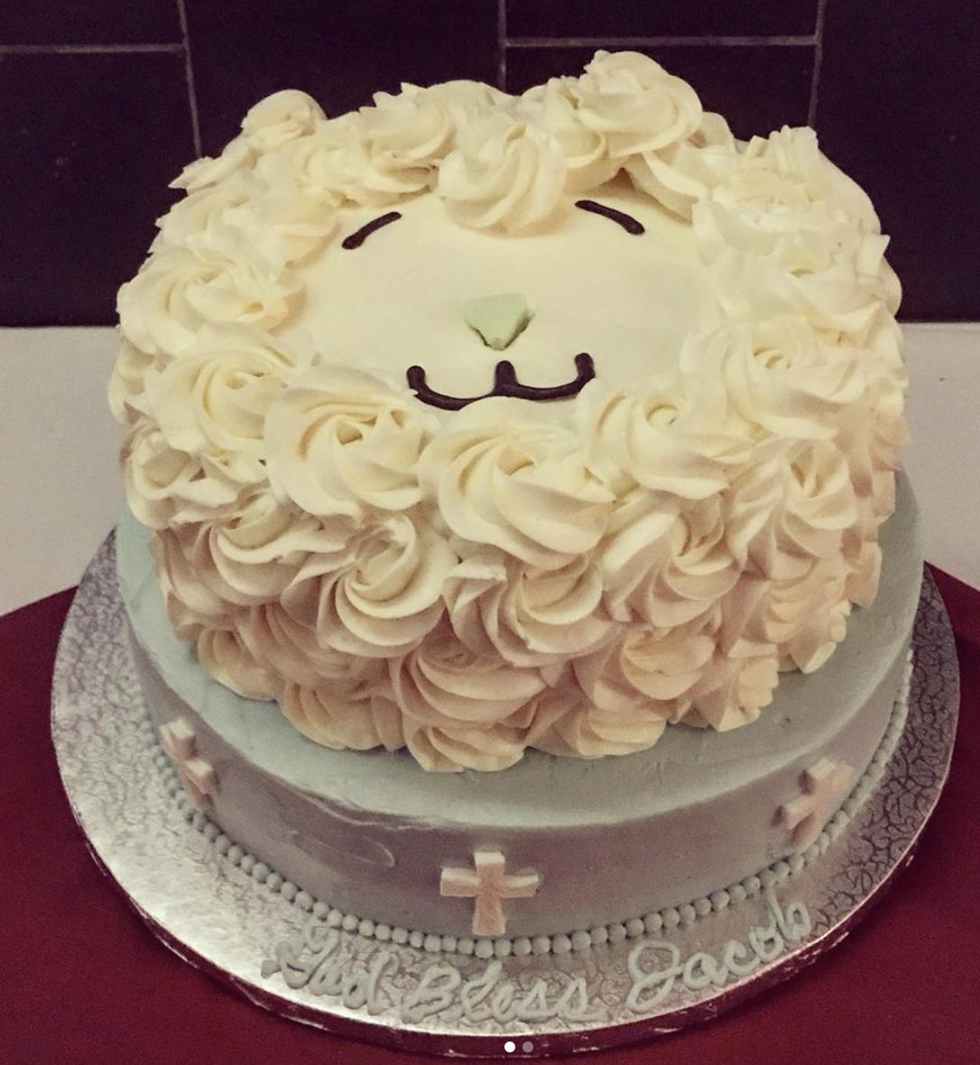 Little Lam Baptism Cake