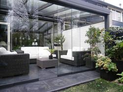 Terrassendach HEATSTOP® mit Galsschiebewänden