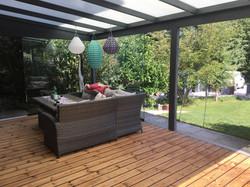 Terrassendach HEATSTOP® mit Glasschiebewand